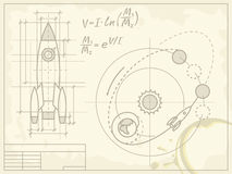 Blueprint of the spaceship and its flight path. Vector blueprint of the spaceship and its flight path on old grunge paper Stock Images
