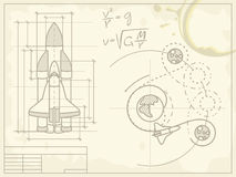 Blueprint of the spaceship and its flight path. Vector blueprint of the spaceship and its flight path on old grunge paper Stock Photos
