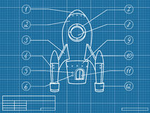 Blueprint with spaceship Royalty Free Stock Photography
