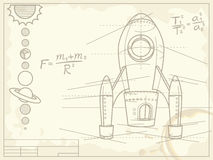 Blueprint with spaceship and planets. On old grunge paper Stock Images