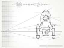 Blueprint - spaceship scheme and planets Royalty Free Stock Photography