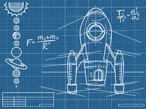 Blueprint with spaceship and planets Royalty Free Stock Photos