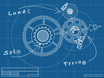 Blueprint of spase mechanic. With Sun, Earth and Moon Royalty Free Stock Images
