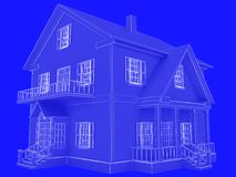 Blueprint style 3D rendered house. White outlines on blue backgr. Ound Royalty Free Stock Image