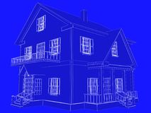 Blueprint style 3D rendered house. White outlines on blue backgr. Ound Stock Images