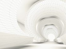 Blueprint stylized tunnel with 3d wire-frame Royalty Free Stock Images