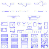 Blueprint symbols used by architects Stock Photography