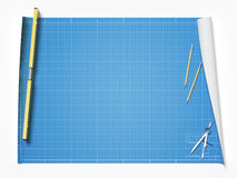 Blueprint on table Stock Photography