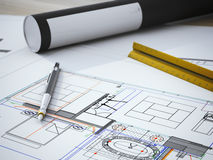 Blueprint on table Royalty Free Stock Photos