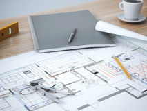 Blueprint on table. Blueprint with pencil on the wooden table stock photos