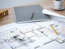 Blueprint on table Stock Photos