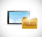 Blueprint tablet and project folder illustration Stock Photography