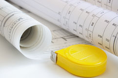 Blueprint and tape measure Stock Image
