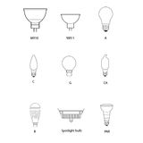 Blueprint, technical draw of different bulb socket Royalty Free Stock Images