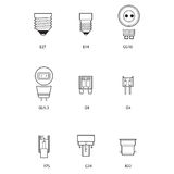 Blueprint, technical draw of different bulb socket Stock Photo