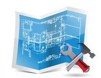Blueprint and tools Stock Photo