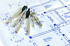 Blueprint and tools Royalty Free Stock Photography