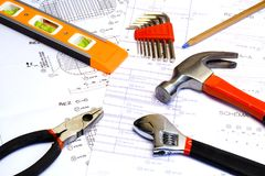 Blueprint and Tools Stock Image