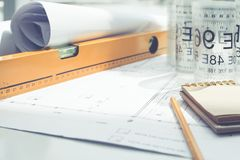 Blueprint and tools Royalty Free Stock Image