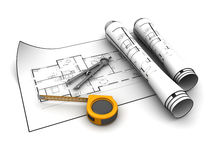 Blueprint and tools Stock Images