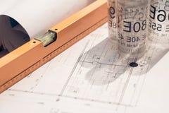 Blueprint and tools Royalty Free Stock Photos