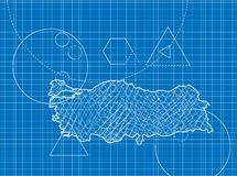 Blueprint of Turkey maps Stock Photo