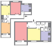 Blueprint of two flats in a modern house Royalty Free Stock Photo