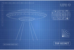 Blueprint of UFO. Technical document with the drawing of alien spaceship. Vector illustration Stock Photo