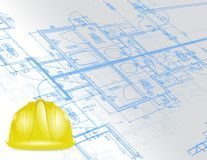 Blueprint and under construction sign Stock Image