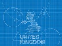 Blueprint of United Kingdom Stock Photo