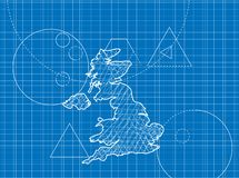 Blueprint of United Kingdom maps Stock Images