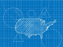 Blueprint of USA maps Royalty Free Stock Image