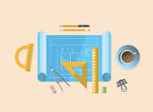 Blueprint with various architecture tools Royalty Free Stock Images