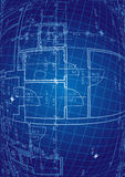 Blueprint vector. Abstract background with blueprint design elements and text space Royalty Free Stock Photo
