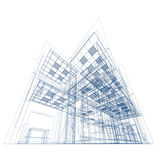 Blueprint on white. Conceptual architecture project