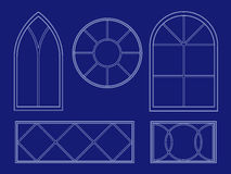 Blueprint window illustrations Royalty Free Stock Photography