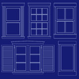 Blueprint window illustrations Royalty Free Stock Images