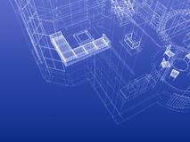 Blueprint wireframe. Fragment of house drawing blueprint style. Interior planning concept. 3d-rendering Royalty Free Stock Image