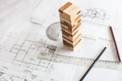 blueprint wooden block  tower, Planning, risk and strategy in bu Royalty Free Stock Image