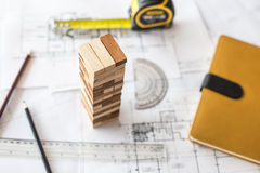 blueprint wooden block  tower, Planning, risk and strategy in bu Stock Photography