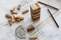 blueprint wooden block  tower, Planning, risk and strategy in bu Stock Photo