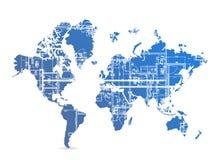 Blueprint world map illustration design Stock Image