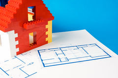 Blueprintfor a home and a toy house Royalty Free Stock Images
