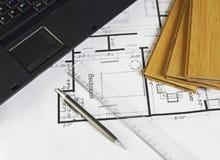 blueprints компьтер-книжка Стоковое Изображение