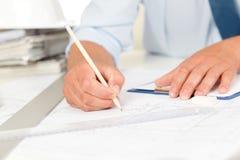 blueprints работа планов строительства Стоковые Изображения