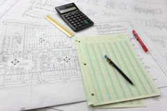 Blueprints. A photo of some blueprints and tools Royalty Free Stock Image