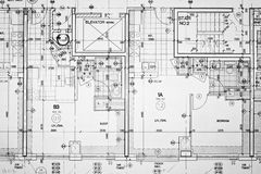 Blueprints. Floorplan blueprints for new construction Royalty Free Stock Image