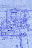 Blueprints. Close up of a blue print of house royalty free stock photos