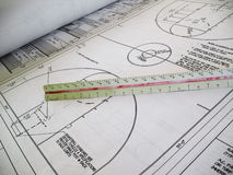 Blueprints. Closeup of architectural drawings for a basketball court Stock Photos