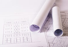 Blueprints. Several architecture blueprints on a table Royalty Free Stock Images